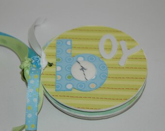 Baby boy premade mini scrapbook album- chipboard brag book baby shower