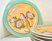 Lusterware Plates with Birds and Flowers Vintage Made in Japan Set of Six