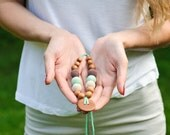 Button Nursing Necklace - oatmeal, mint green and chocolate brown