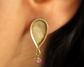 14k solid gold earrings, 14k gold drop earrings, Pink tourmaline post earrings