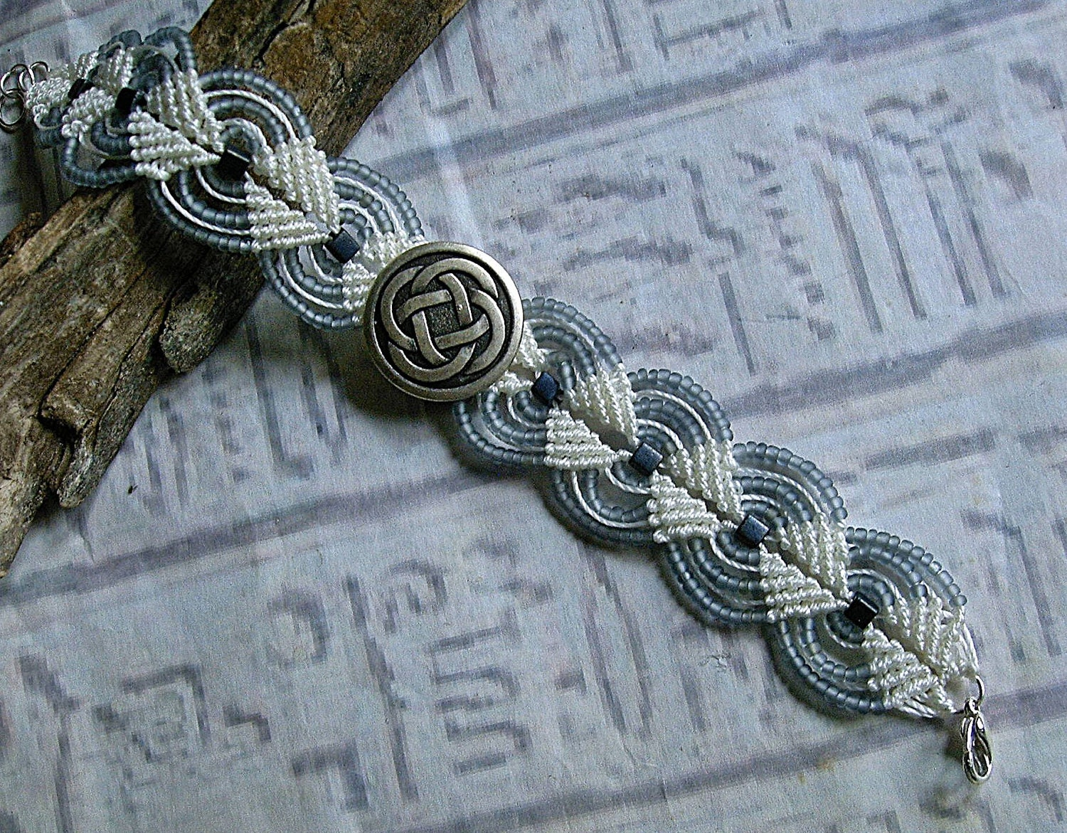 Micro Macrame Bracelet With Celtic Knot Button Macrame