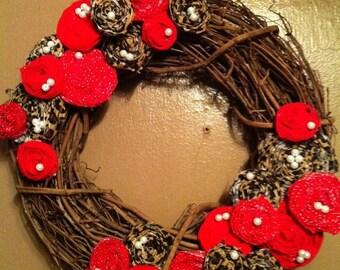 "Small Decorative Leopard Print & Red 14"" Rosette Wreath"