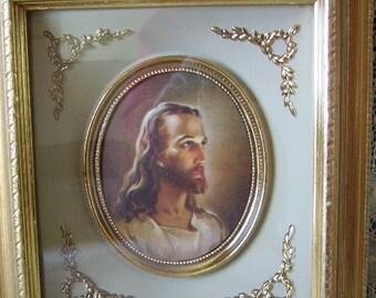 Vintage Framed ,Head of Christ, ornate detail, Jesus