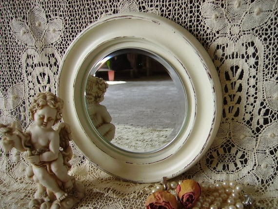 Petite French Country Cottage Mirror, round, painted, creamy white, upcycled