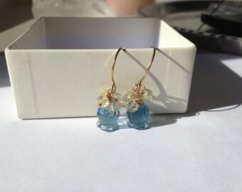 Bluebell Flower Gold Earrings, Blue Quartz Jewelry, Gold Jewelry, Lemon Quartz Jewelry,