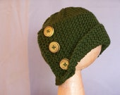Reserved for Julia Flapper Style Cloche Hat with Three Wooden Buttons