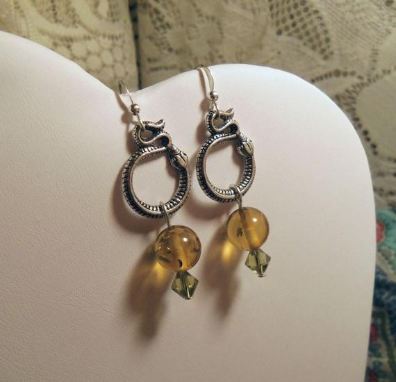 Loki snake green amber Swarovski  silver plated earrings