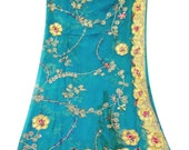 Antique Vintage Teal Blue Chiffon Dupatta Metallic Thread Work Bridal Scarf Wedding Recycled Long Stole - QD24