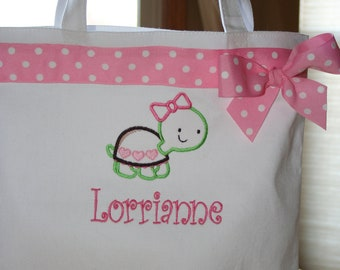 Personalized Tote Bag for Girls - Gift - Baby Gift - Turtle - Heart - Canvas - Birthday - Keepsake