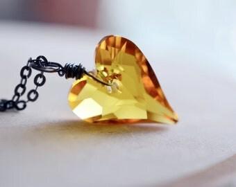 Wild Heart Pendant, Swarovski Heart Necklace, Oxidized Sterling Silver Necklace, Citrine Yellow Pendant, Valentine, Love Gift, Bridesmaid