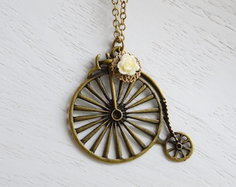 Bicycle Necklace, Antique Brass Bike Necklace, Extra Long Necklace, Ivory Flower Retro Penny Farthing Bicycle Pendant, Bike Jewelry
