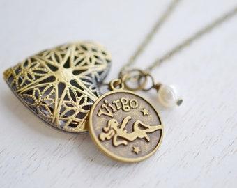 Retro Angel Locket, Antique Filigree Locket, Vintage Inspired Necklace, Locket Necklace,Virgo Zodiac Astrology,Heart Locket Jewelry,Love