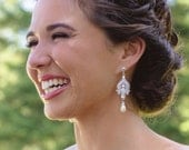 GRACE, Victorian Style Bridal Earrings, White or Ivory Pearl and Rhinestone Chandelier Wedding Earrings, Hollywood Glamour Bridal Jewelry