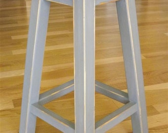 "wood stool/ round stool/ bar/counter stool/ painted/ gray/ 25"" - 30"" H"