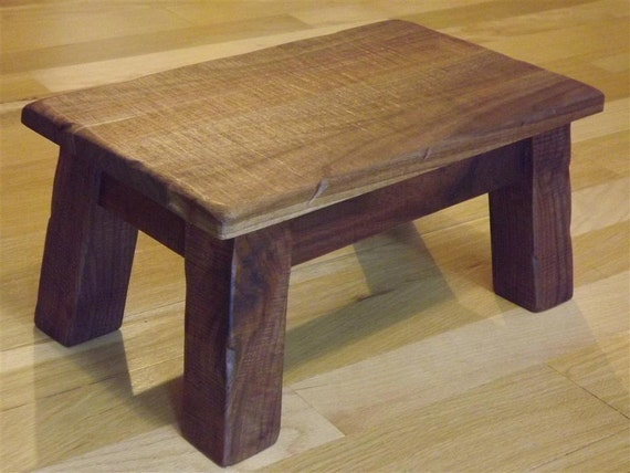 Solid Walnut Rustic Reclaimed Wood Farmhouse Stool