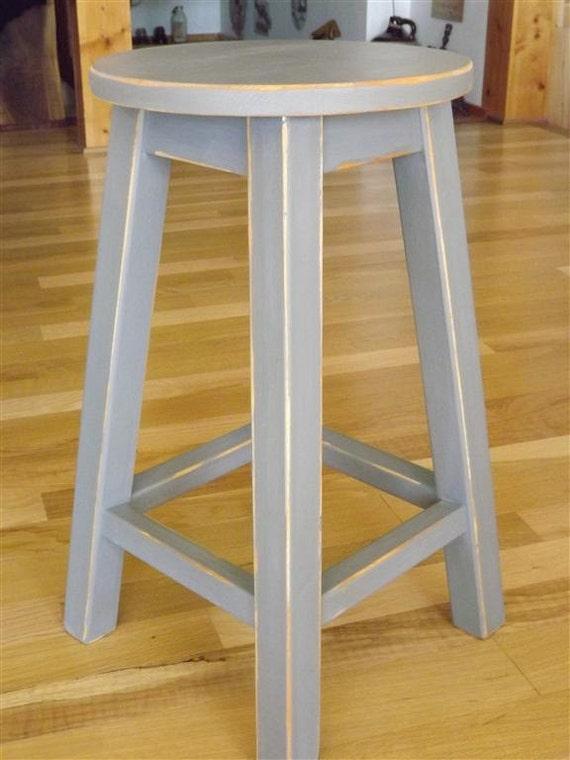 Wood Stool Round Stool Bar Counter Stool Painted Gray