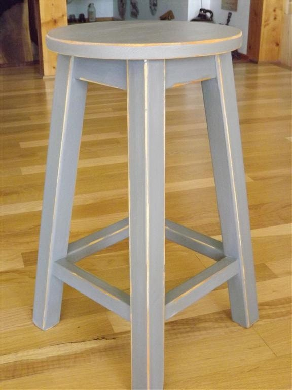 Wood Stool Round Stool Bar Counter Stool Painted Gray