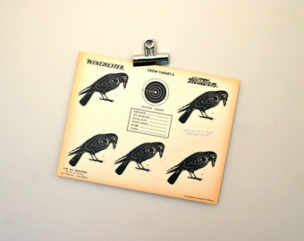 Vintage Original 1950s Multiple Crows Paper Shooting Target with Stamp