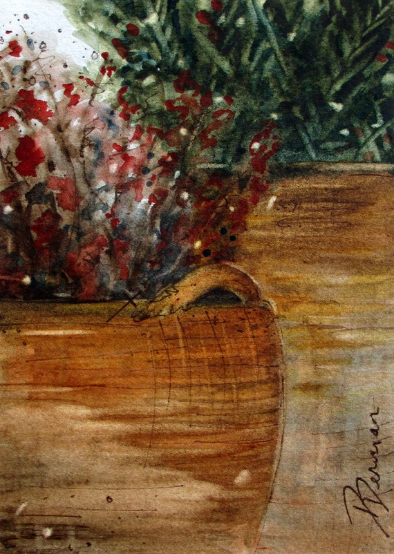 Baskets and Branches Watercolor Painting