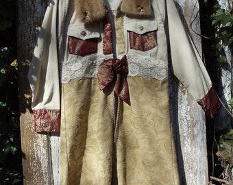SALE,WAS 135.00,Tapestry Mink Corduroy Long Coat, Long Jacket Coat,Bohemian Coat,Upcycled Coat,Shabby Chic Coat