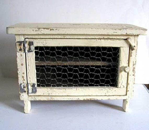 Vintage Mini Size Pie Safe Cupboard In Old Cream White Paint