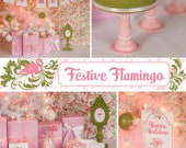 Pink Flamingo Christmas - Printable Party Decorations