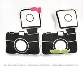 His and Hers Camera Plush Set by Yellow Heart Art