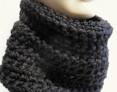 Cowl Crochet Chunky Scarf / Black / Choose Your Color