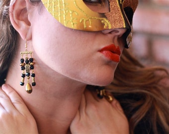 GLAM Handcrafted Black and Gold Sparkly Chandelier Earrings