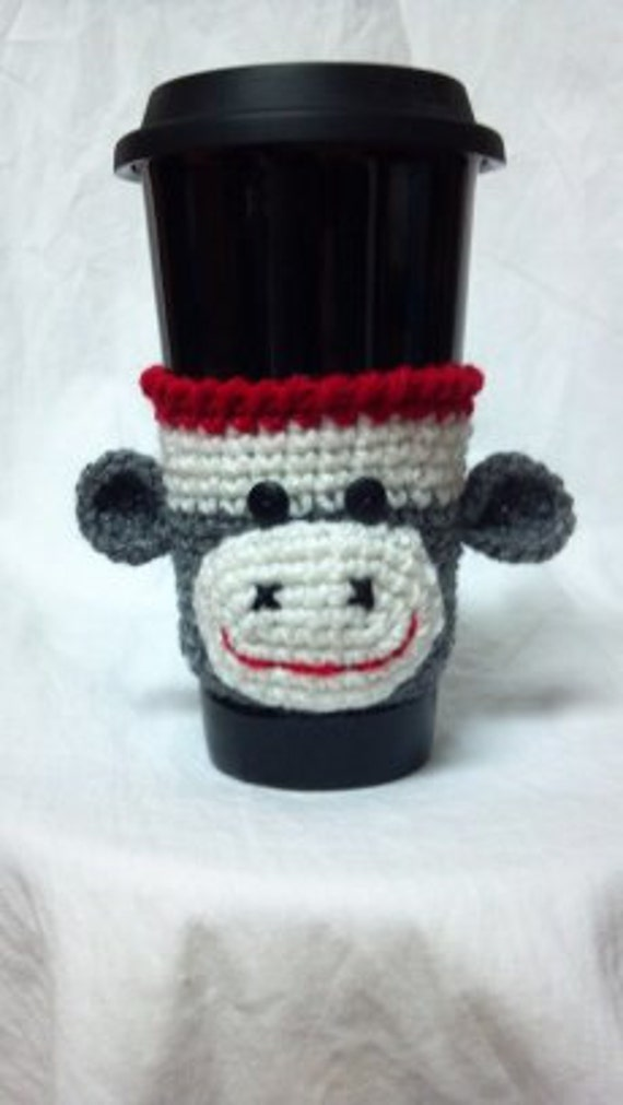 Sock Monkey Cup Cozy-Grey  READY TO SHIP