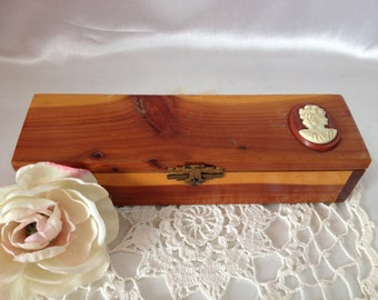 Cameo Wooden Box Wood Treasure Box