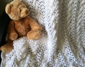 Elegant Pure White Hand Knit Baby Blanket / Afghan