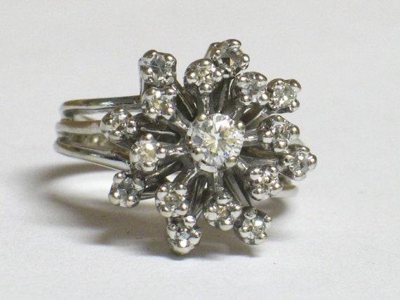 14K 2/3Ct Diamond Snowflake Ring Circa 1950/60s