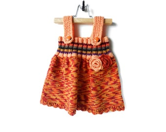 Knitted Baby Girl Dress - Orange Multicolor, 9 - 12 months