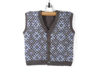 Knitted Boy Vest - Brown and Blue, 4-5 years