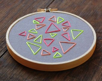 Multi Colored Triangle Traffic Hand Embroidery