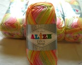 Alize Diva Missisipi, batik design yarn. Lot of 5, reserced listing for KP Cherryl Loom - NO priority shipping
