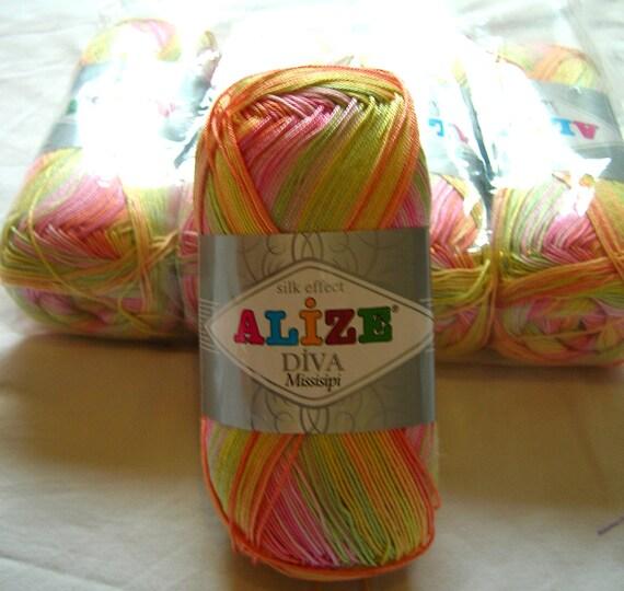 Alize Diva Missisipi Batik Design Yarn. Lot Of 5 Reserced