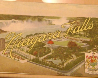 vintage colorful Canadian travel brochure of niagara falls from the 40's