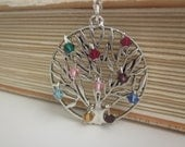 Family Tree Necklace wtih up to 12 birthstones