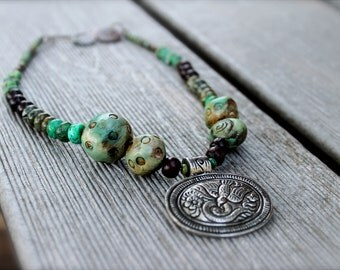 Organic Beaded Choker Necklace: Polymer Clay, Primavera, Turquoise, Jasper, Wood - The Magic Flute