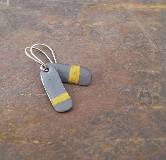 Cyber Monday Sale - Enamel earring in gray and yellow