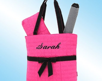 Diaper Bag - 3 Piece Personalized Set - Quilted Hot Pink with Black Accents