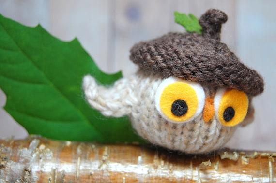 Owl Ornament, Owl Stuffed Toy, Owl Christmas Ornament, Knit Owl, Owl Acorn Hat, Knit Toys, Woodland Animal, Woodland Nursery Decor, Autumn