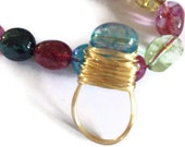 Black Friday SALE wire wrapped crystal bead ring your choice of crystal and wire colour