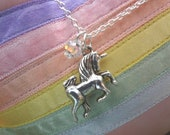 SALE GIFT READY Magical Rainbow Unicorn Necklaces with Swarovski Crystal Rainbow Prisms Tibetan & Sterling Sliver