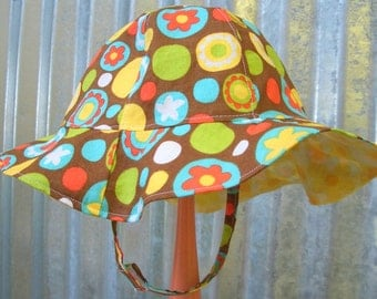 Toddler Sun Hat with Chin Strap, Brown and Yellow Sun Hat Reversible