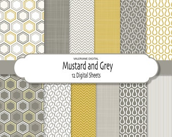 Digital paper pack in yellow mustard and grey, digital backgrounds - 12 jpg files 12x12 INSTANT DOWNLOAD 274