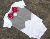 Baby Boy Shirt - Custom Tuxedo Bodysuit or Tshirt Polka Dot Bow tie - Perfect 1st Birthday or Spring Summer Wedding outfit -SS Version