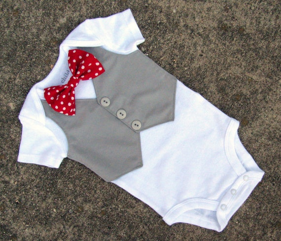 Baby Boy Valentine's Day Shirt - Custom Tuxedo Bodysuit Polka Dot Red Bow tie - Perfect 1st Birthday or Wedding Outfit - LS version